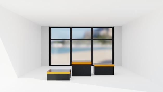 Representación 3d. pantalla o podio para mostrar el producto y la habitación vacía con una ventana.