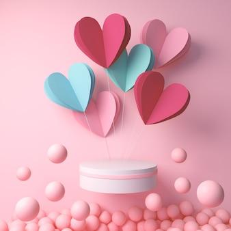 Representación 3d de la pantalla del podio con corazón y bola rosa, feliz día de san valentín