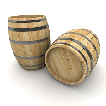 Representación 3d de un par de barriles de vino sobre una superficie blanca