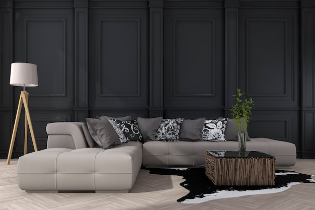 Representación 3d de pared negra clásica con sofá