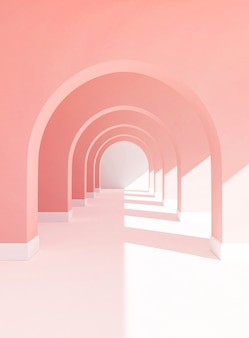Representación 3d de pasarela en colores pastel, fondo de color rosa con piso blanco y espacio de copia de luz de sol