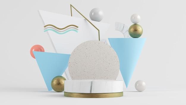 Representación 3d de pedestal de mármol blanco rodeado de coloridas formas abstractas.