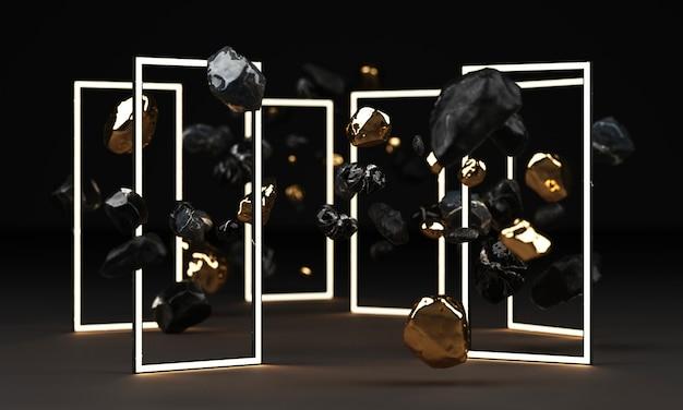 Representación 3d de pedestal de mármol negro aislado en negro con marco de iluminación led y roca de forma libre