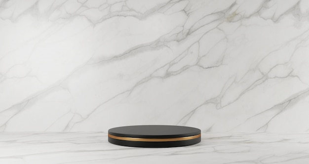 Representación 3d de pedestal de mármol negro aislado sobre fondo de mármol blanco, anillo de oro, concepto minimalista abstracto, espacio en blanco, minimalista de lujo