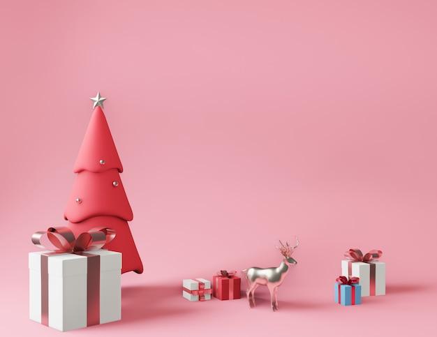 Representación 3d de pequeñas cajas de regalo y árbol de navidad rosa metálico