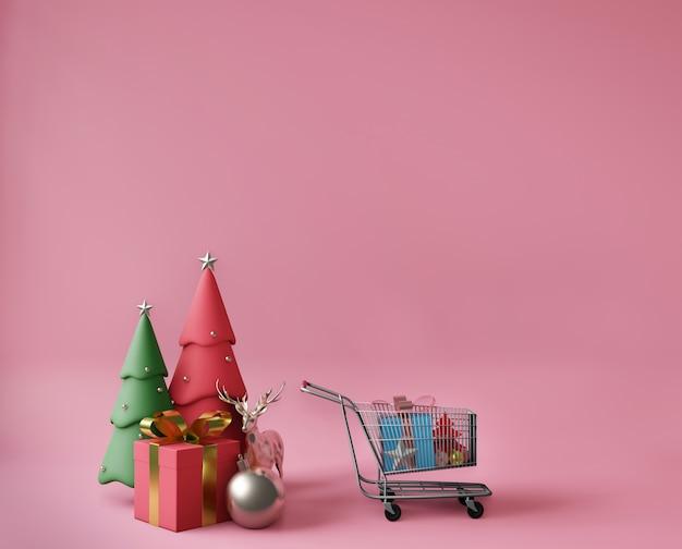 Representación 3d de pequeñas cajas de regalo, carrito de compras y árboles de navidad