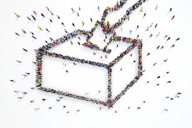 Representación 3d de personas forman símbolo de elecciones
