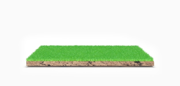 Representación 3d. pieza de tierra de pasto verde aislado