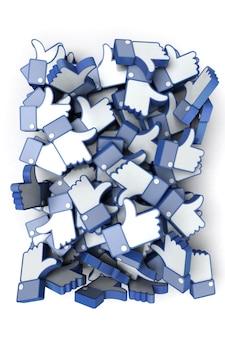 Representación 3d de una pila de iconos de manos con el pulgar hacia arriba en tonos azules