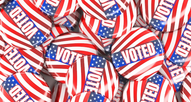 Representación 3d pila de insignias de botón de voto.