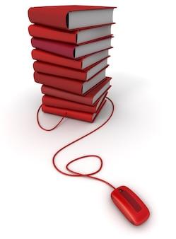 Representación 3d de una pila de libros rojos conectados a un mouse de computadora