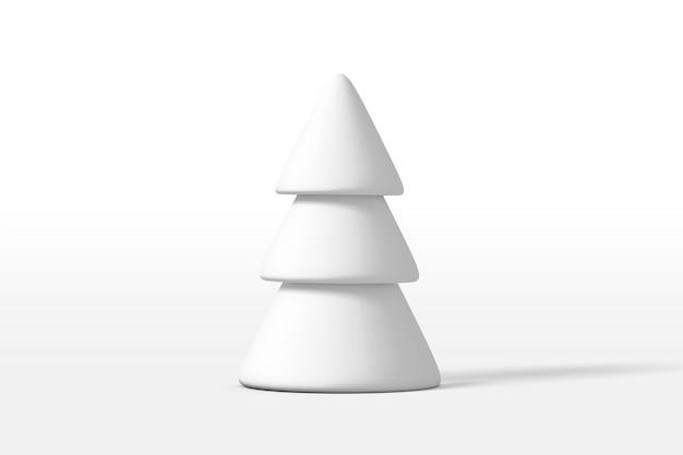Representación 3d de un pino o árbol de navidad cubierto de nieve blanca aislado sobre un fondo blanco.