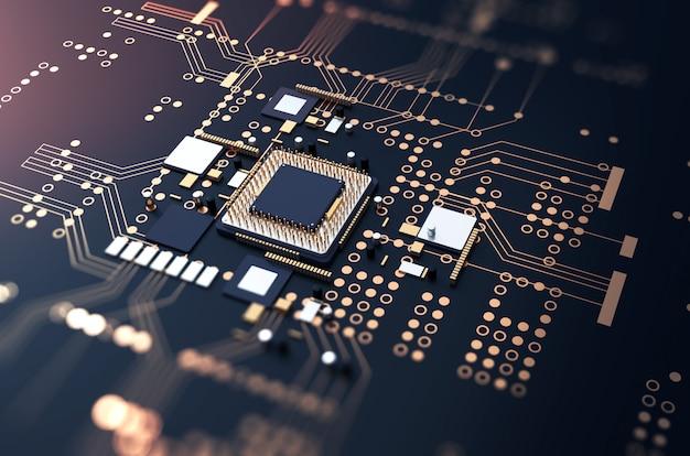 Representación 3d de la placa de circuito azul futurista