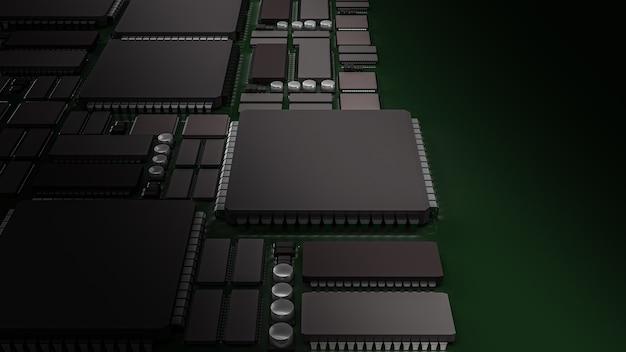 Representación 3d de placa de circuito impreso