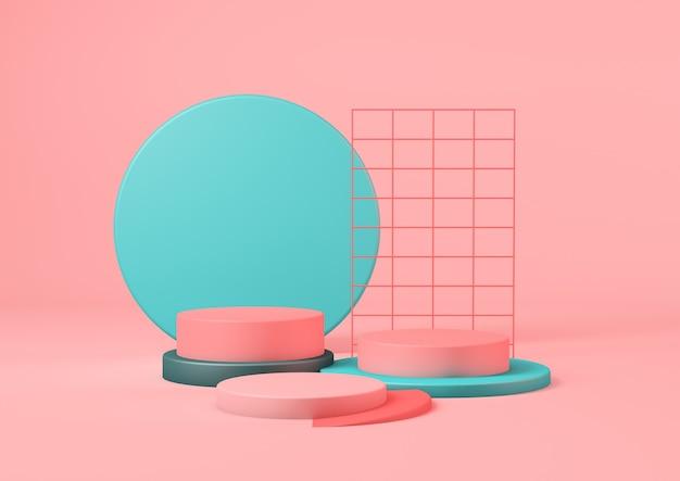 Representación 3d plataforma de pedestal de producto rlean en colores turquesa con fondo rosa