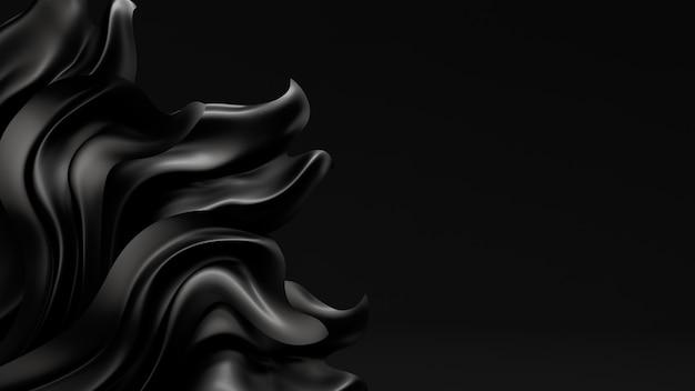 Representación 3d de pliegues negros y remolinos