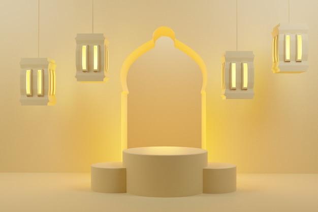 Representación 3d del podio árabe con linternas, pantalla de fondo mínima