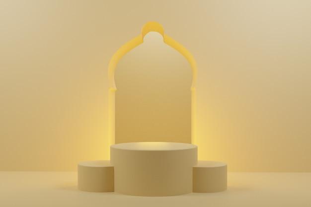 Representación 3d del podio árabe pantalla de fondo mínima