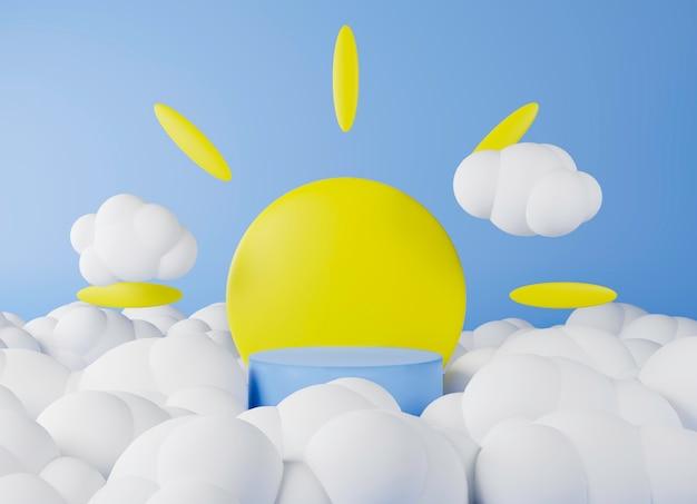 Representación 3d podio azul y telón de fondo sol y nube.