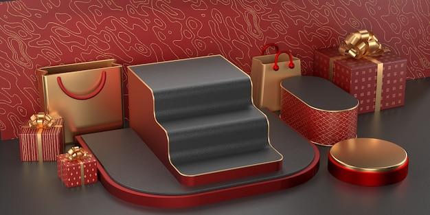 Representación 3d de podio y caja de regalo.
