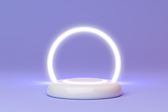 representación 3d de podio y círculo de luz