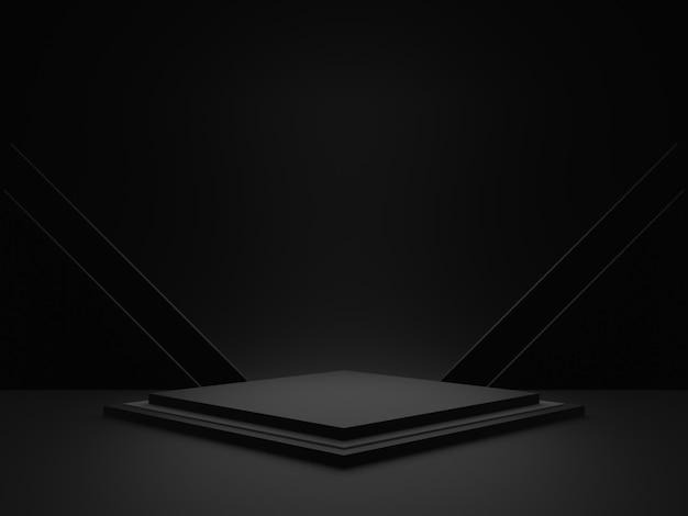 Representación 3d. podio de escenario geométrico negro. fondo oscuro.