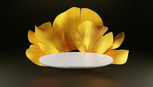 Representación 3d. podio para exhibición de productos en color oscuro y dorado.