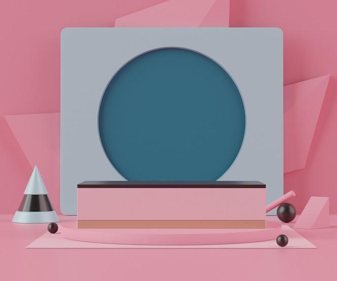 Representación 3d de un podio con formas geométricas