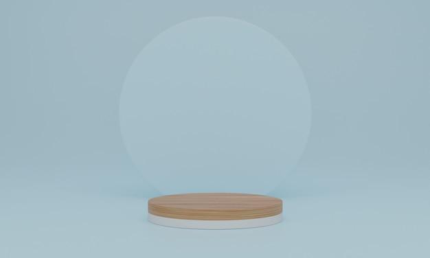 Representación 3d. podio de madera sobre fondo azul. pedestal o plataforma para exhibición, presentación de producto, maqueta, mostrar producto cosmético