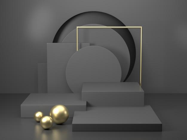 Representación 3d podio negro geometría con elementos dorados. forma geométrica abstracta podio en blanco. escena mínima planta cuadrada composición abstracta de piso