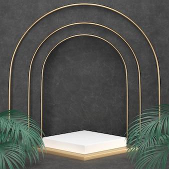 Representación 3d podio negro geometría con elementos de oro.