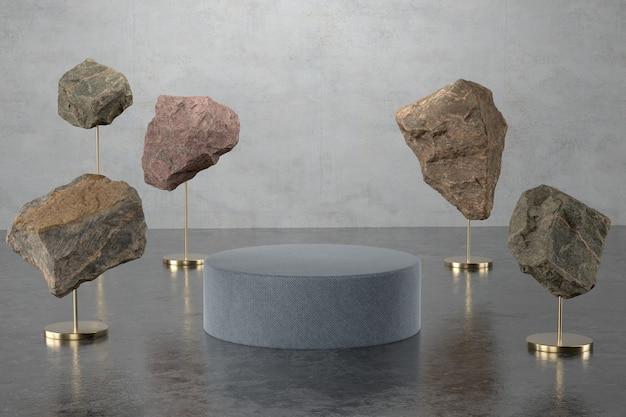 Representación 3d de podio y piedra.