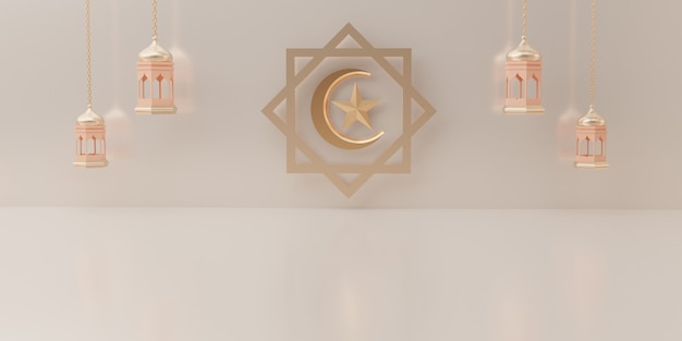 Representación 3d del podio del producto concepto de venta de eid mubarak