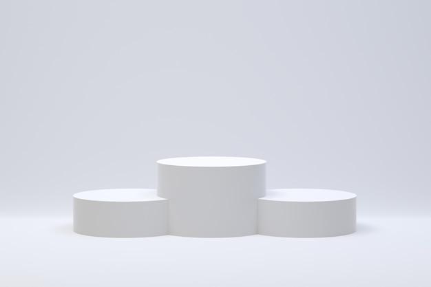 Representación 3d, podio resumen de antecedentes mínimos para la presentación de productos cosméticos, forma geométrica abstracta
