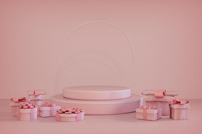 Representación 3d de podio rosa y caja de regalo escaparate de navidad