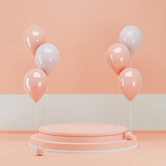 Representación 3d podio rosa con un montón de globos para mostrar el producto