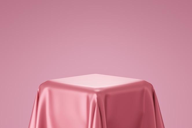 Representación 3D del podio con tela de seda rosa