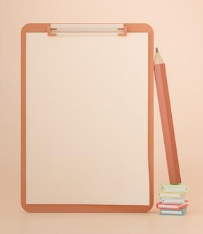 Representación 3d, portapapeles con papel en blanco y lápiz, plantilla para informes de notas y listas de verificación, concepto de regreso a la escuela