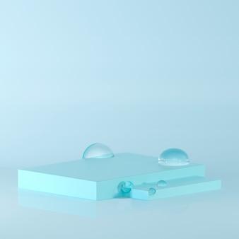 Representación 3d premios podio en armonía con las gotas de agua.