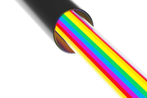 Representación 3d primer plano de una sección de un cable y dentro de un cable de color lgbt. bandera de la comunidad lgbt de rayas.