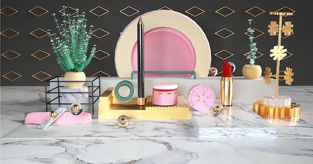 Representación 3d de productos de belleza y lápices labiales en un podio para una maqueta de exhibición