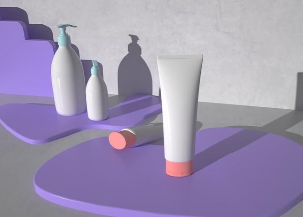 Representación 3d de productos cosméticos se encuentra en un pedestal