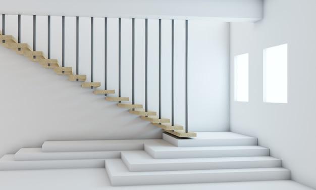 Representación 3d, la puerta de la casa blanca escaleras minimalistas de madera