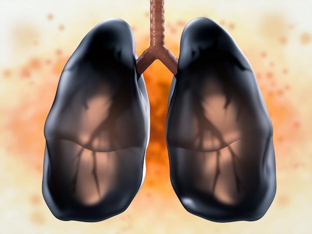 Representación 3d de pulmones negros o pulmones insalubres