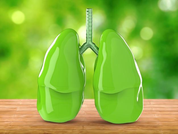 Representación 3d de pulmones verdes con fondo verde