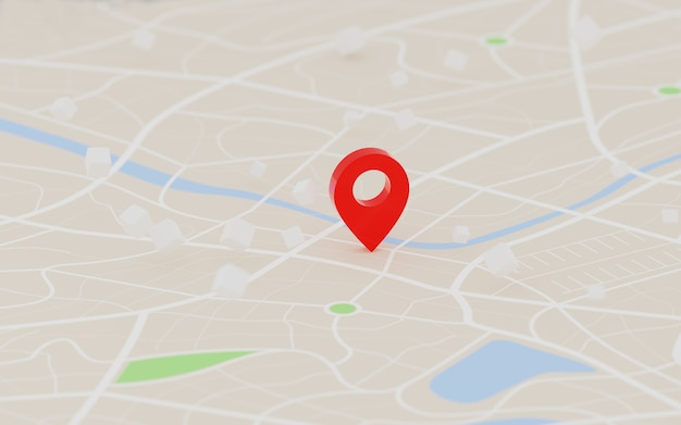 Representación 3d del punto de destino del gps rojo en el mapa, para el navegador y la ruta para el concepto de viaje, seleccione el enfoque con poca profundidad de campo