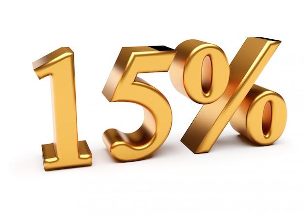 Representación 3d del quince por ciento de oro