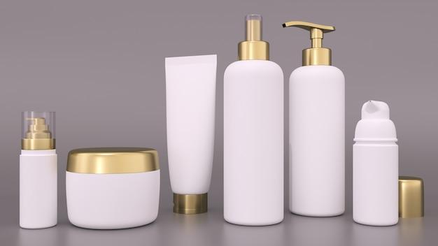 Representación 3d realista de envases cosméticos en blanco para cremas y botellas tónicas. botella y tubo, crema tónica para el cuidado de la piel.