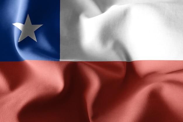 Representación 3d realista ondeando la bandera de seda de chile