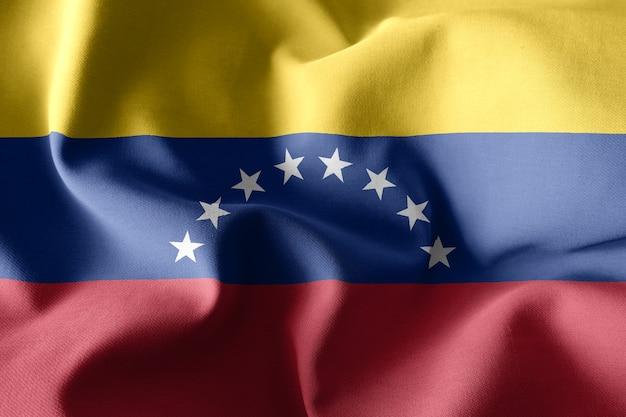 Representación 3d realista ondeando la bandera de seda de venezuela